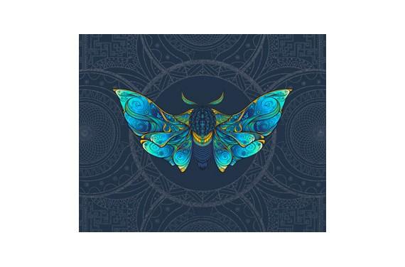 панель управления - Colorful moth - 50x40 см