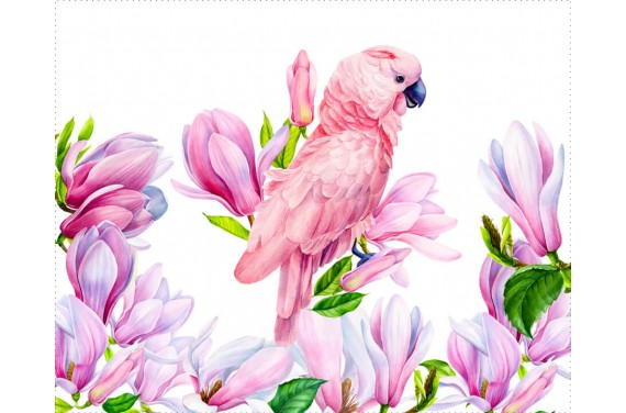 Panel na torbę - Spring parrot 1- 50x40