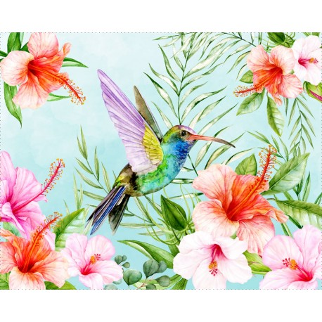 "Panel for the bag - ""Humming bird 2"" - 50x40 cm"