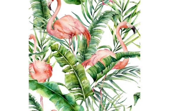 Flamingo&palm leaves
