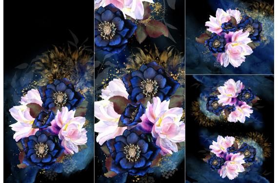 POLYESTER PANEL FÜR Schlafsack TROLLEY - Dark floral