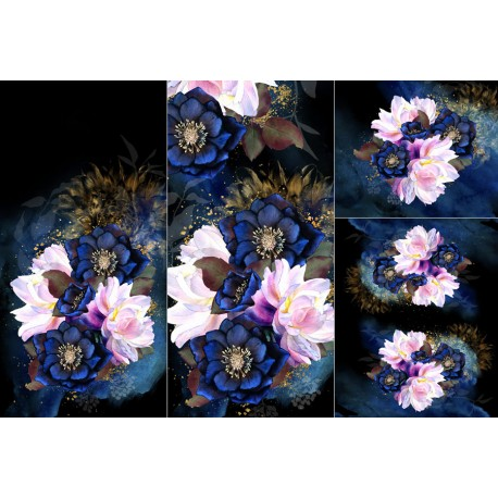 Panel for sleeping bag - Dark floral
