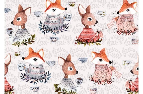 Coffee with fox and deer