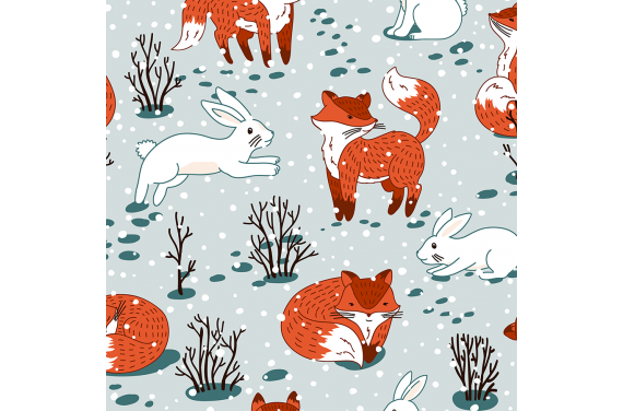 Cute foxes and bunny winter 1
