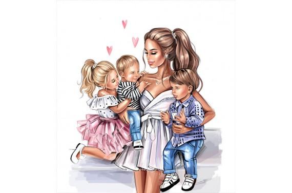 Panel für die Tasche - Mom & kids 5-50x50