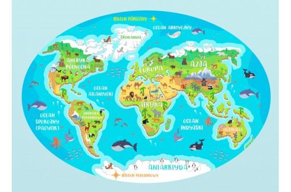 Mapa świata (polska) mata dywan