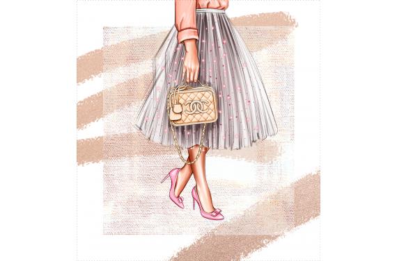 Panel na torbę - Fashionable lady-50x50