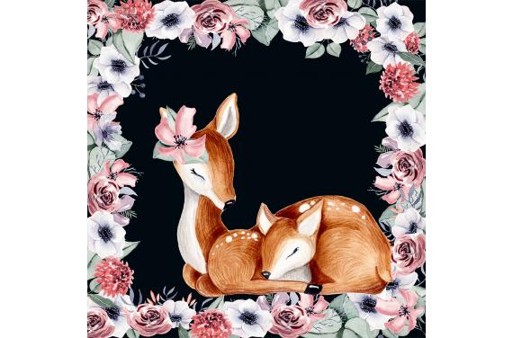 панель управления - Lovely deer black 50x50