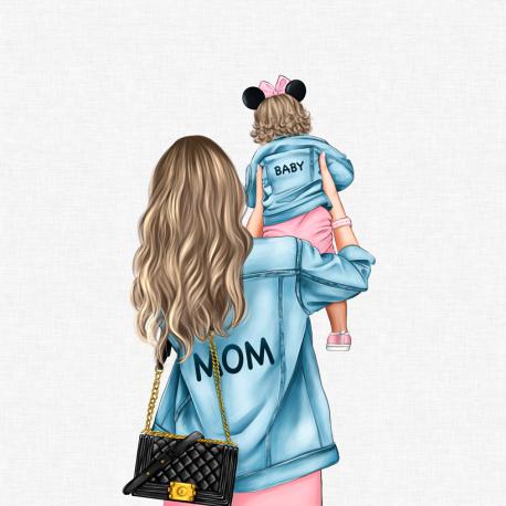 Panel for the bag - MOM&BABY GIRL 1--50x50