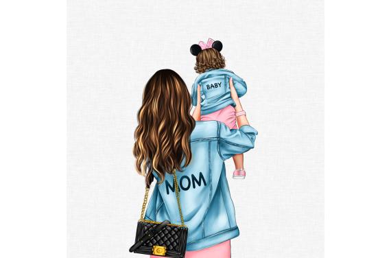 Panel for the bag - MOM&BABY GIRL 2-50x50