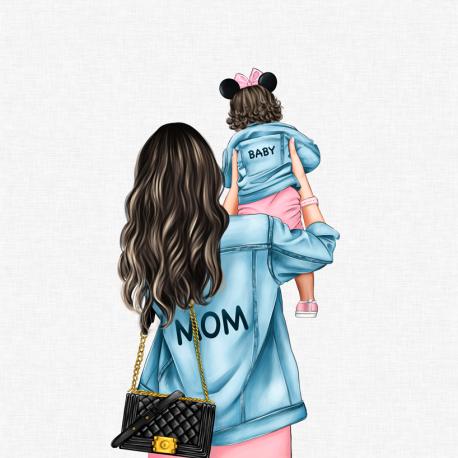 Panel for the bag - MOM&BABY GIRL 3-50x50