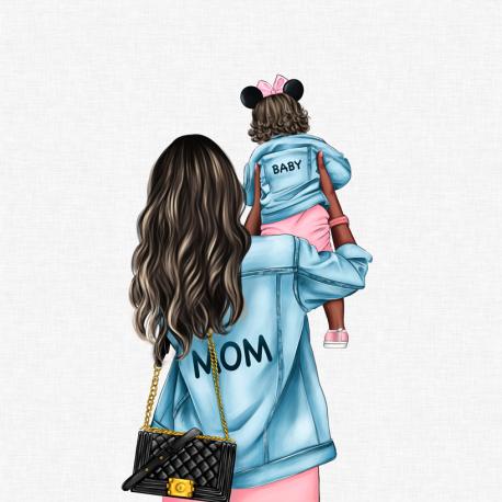 Panel for the bag - MOM&BABY GIRL 4-50x50