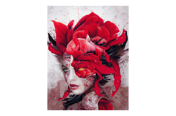 WOMAN IN RED 28X35 ECO LEATHER PANEL