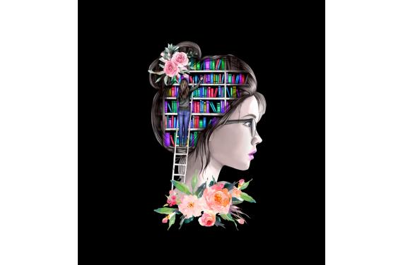 Girl with books 2 - ECO LEDER PANEL