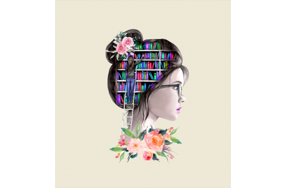 Girl with books 1 - ECO LEDER PANEL