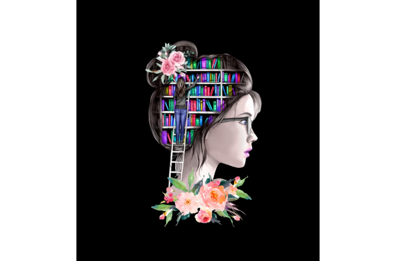 Girl with books 2