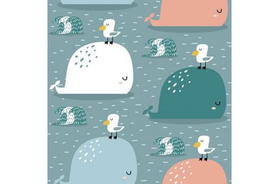 Poliester wieloryb i mewy