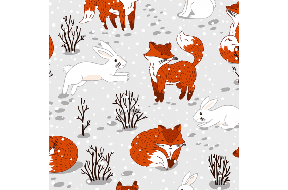 Cute foxes and bunny winter 2 fabric