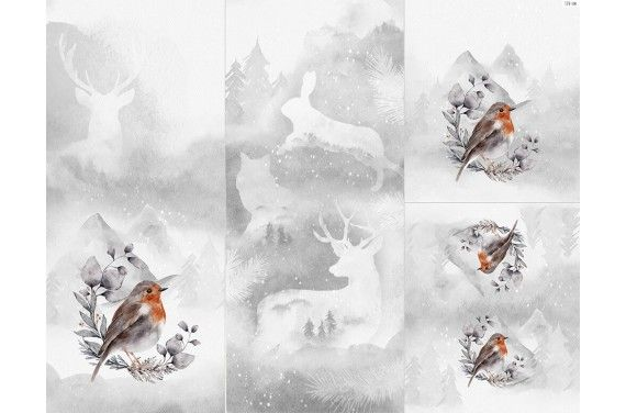 Panel for sleeping bag - Winter forest 6 bird