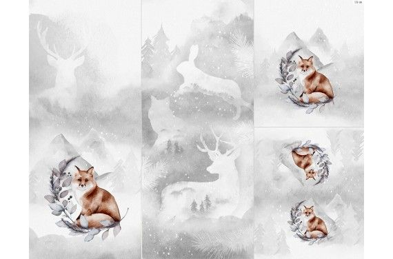 Полиэстер - Winter forest  6 fox