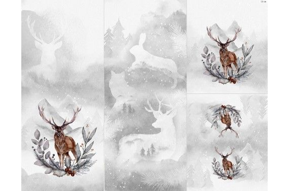 Panel for sleeping bag - Winter forest 6 deer1