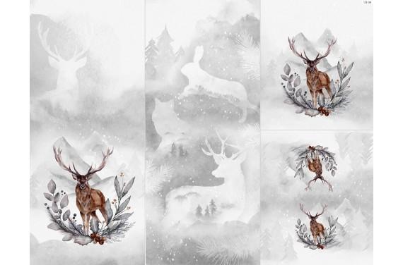 Полиэстер - Winter forest 6 deer 1