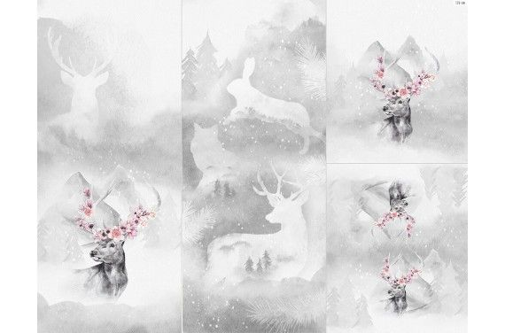 Panel for sleeping bag - Winter forest 6 deer 2