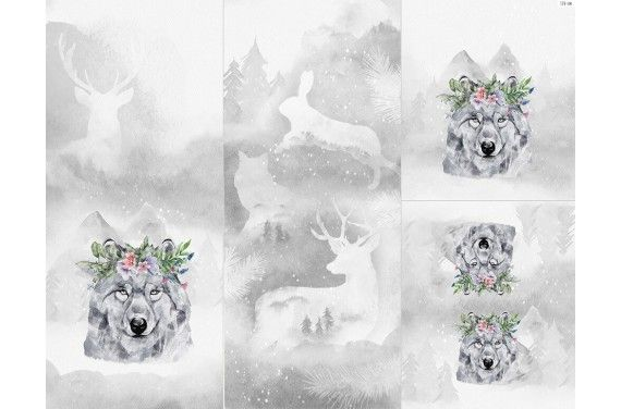 Panel for sleeping bag - Winter forest 6 wolf
