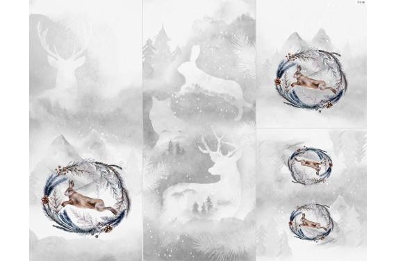 Полиэстер - Winter forest 6 rabbit 1