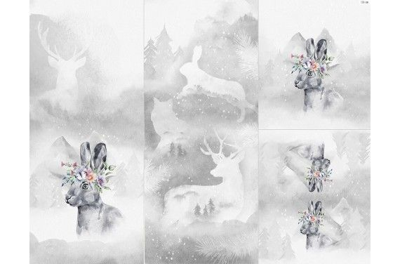 Полиэстер - Winter forest 6 rabbit 2