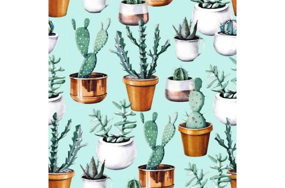 Poliester Kaktusy na zielonym