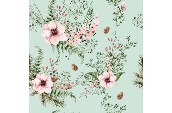Poliester Kwiaty Mint