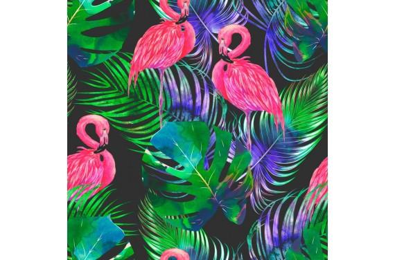 Poliester Monstera i flamingi