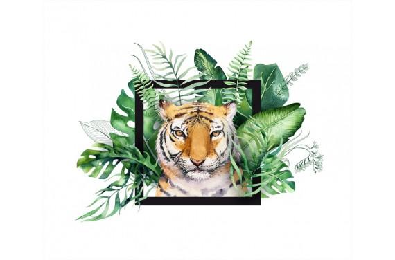 Tropical tiger boy black panel eko skóra