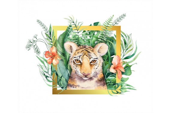 Tropical tiger boy gold  ECO LEATHER PANEL