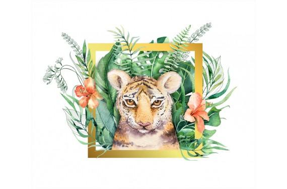 Tropical tiger boy gold panel eko skóra