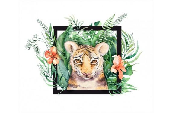 Tropical tiger girl black panel eko skóra