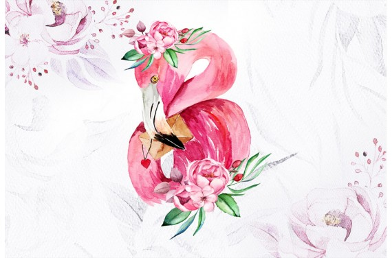 Flamingo in peonies