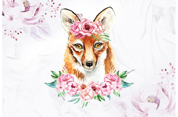 Fox in peonies