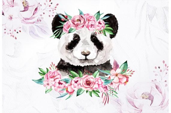 Panda in peonies
