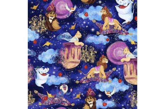 Lion in magical world 1- tkanina