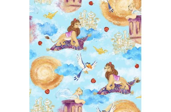 Lion in magical world 2- tkanina