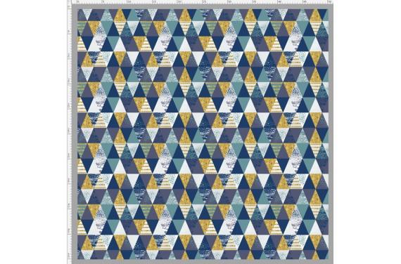 Shiny navy triangles- tkanina