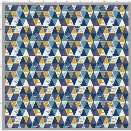 Shiny navy triangles fabric