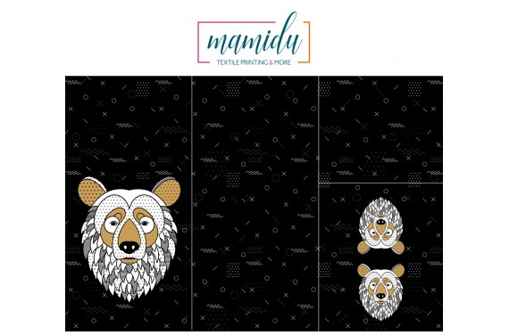 Panel for sleeping bag Scandi bear black