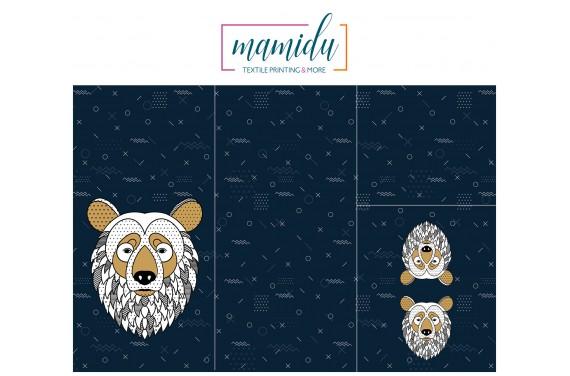 Panel for sleeping bag Scandi bear blue