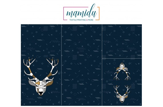Panel for sleeping bag Scandi deer blue