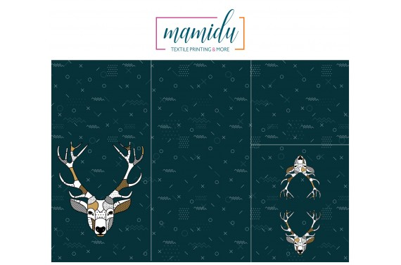 Panel for sleeping bag Scandi deer ocean