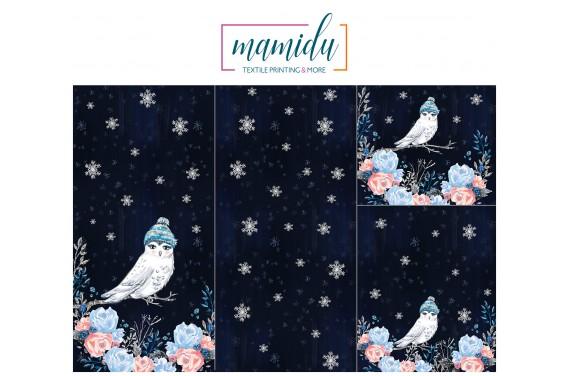 Panel for sleeping bag  Magic winter owl