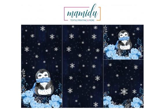 Panel for sleeping bag  Magic winter penguin